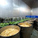 The vegetables are cut and placed in cold storage