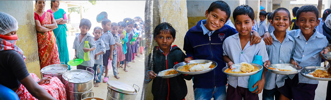 Ngo in delhi - A child holding a clean full meal plate